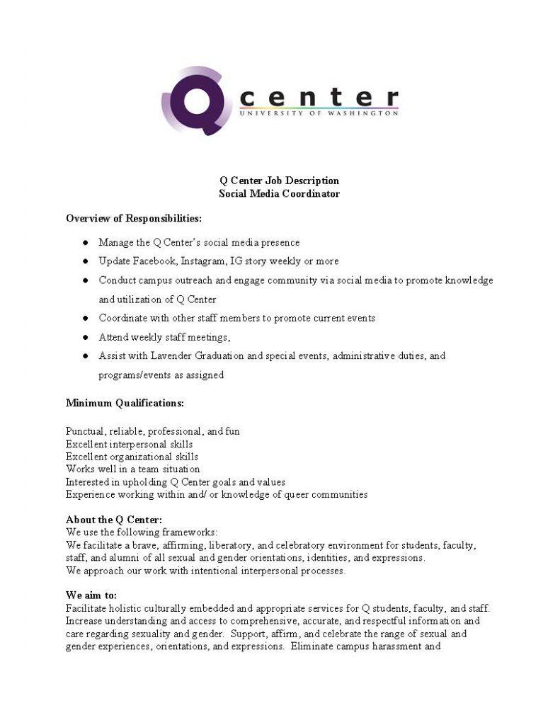 Q Center Job Description