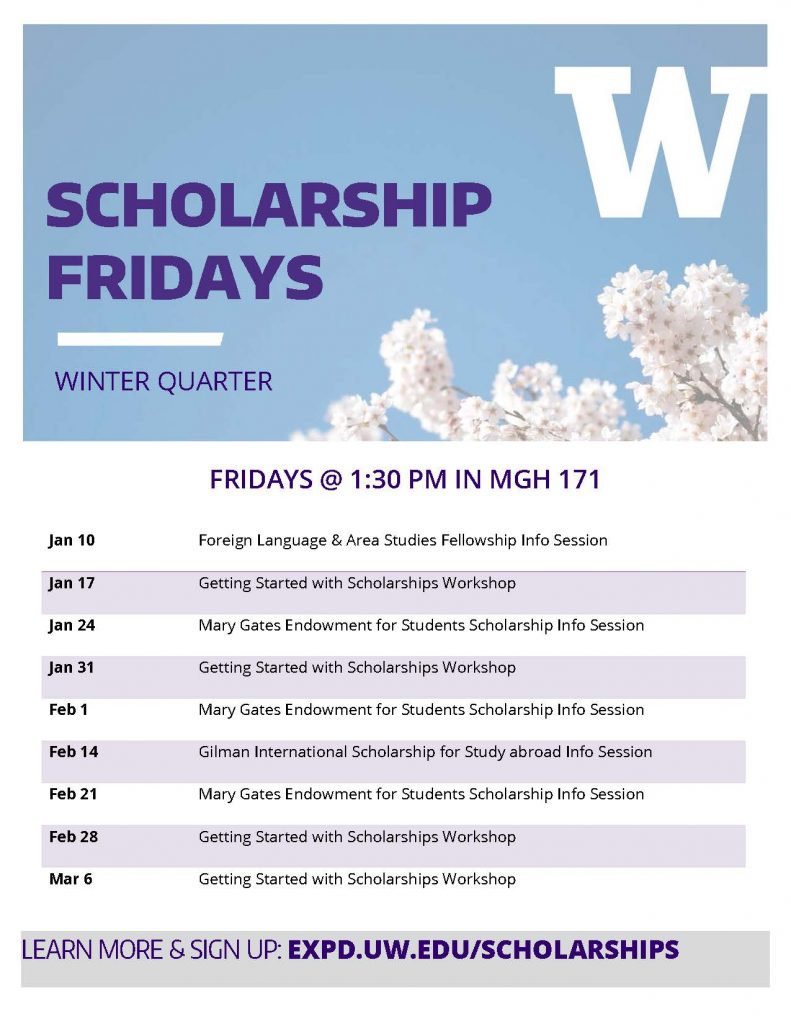 Scholarship Fridays - WINTER 20 Flyer