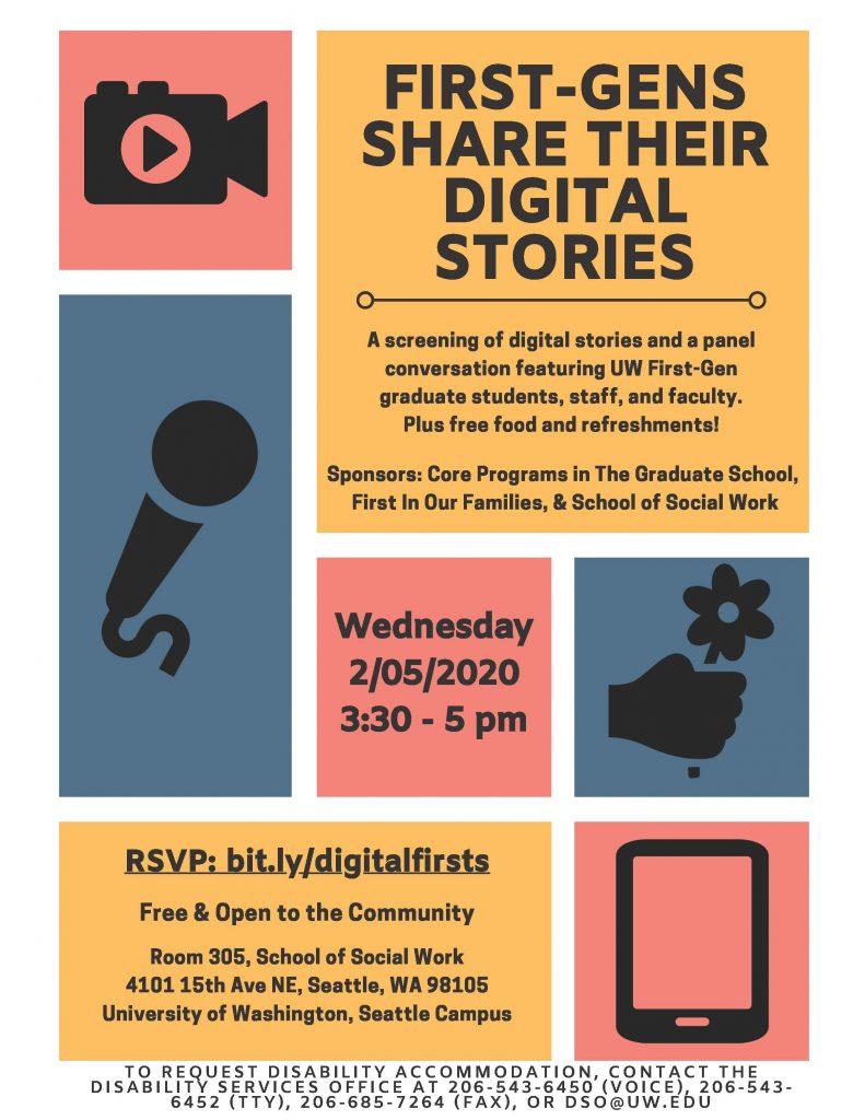 UW FGs Share Their Digital Stories - Winter 2020 Flyer