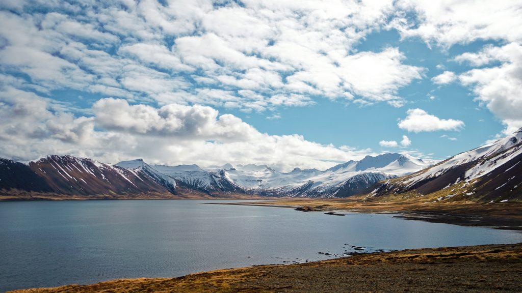 Mountains, lake, clouds