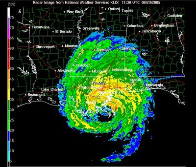 National WEATHER RADAR image of Katrina near landfall on the ...