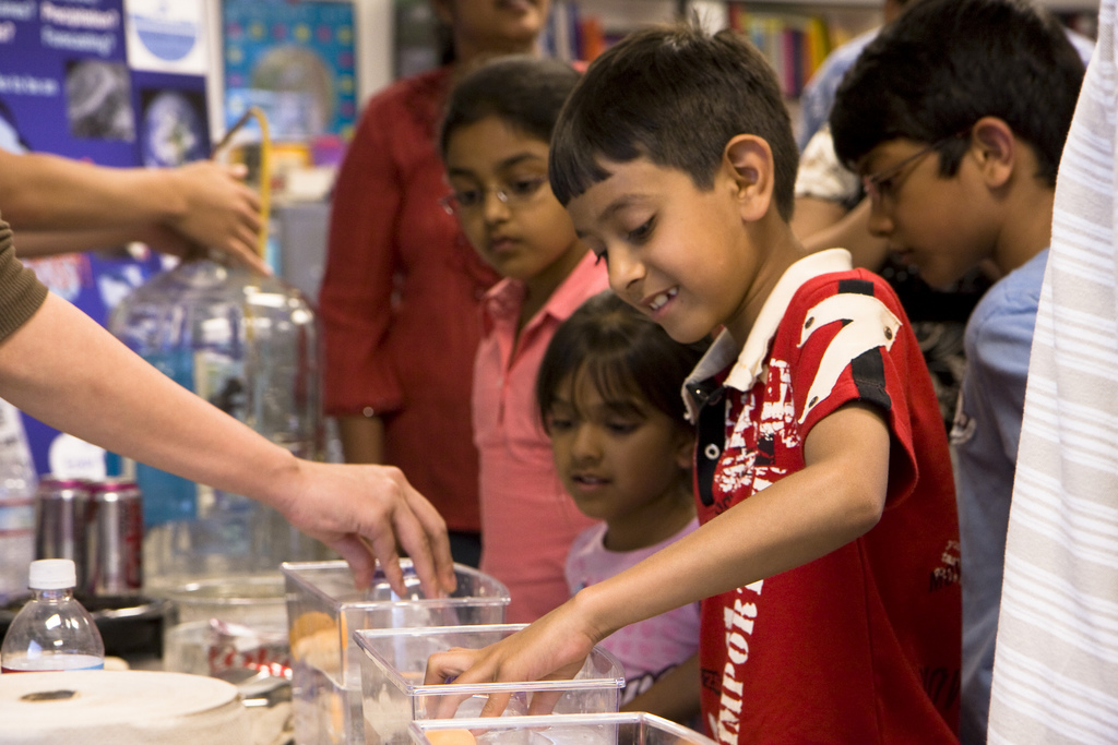 Students playing with the pressure demo