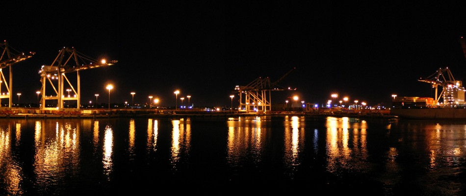 View of the Port of LA during nighttime measurements aboard the R/V Atlantis as part of the CALNEX campaign.