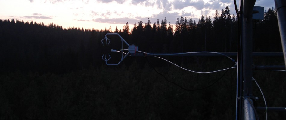 The sonic anemometer and inlet at sunset over Blodgett Forrest Research Station in the Sierra Nevada mountains, California.