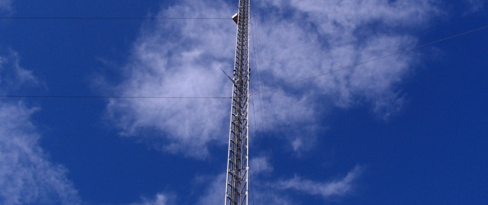 A view of the instrument carriage ascending the Erie Tower during the NACHTT 2011 (Nitrogen, Aerosol Composition, and Halogens on a Tall Tower) field campaign near Boulder, CO.