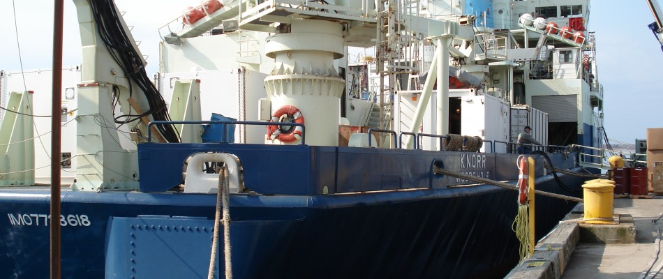 R/V Knorr in Port during ICEALOT a ship campaign in the North Atlantic.